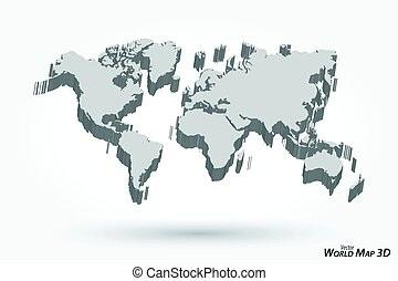 3D World map on gray background .