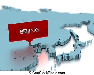 3d world map sticker - City of Beijing