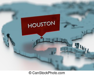 3d world map sticker - City of Houston