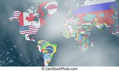 3D World Map Zoom to South America