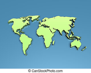 3D world - The world map in 3D on a flat blue background