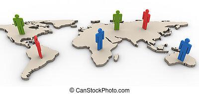 3d, worldmap, persone