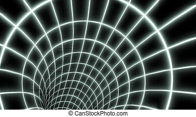 3D wormhole with grid loop - An animated wormhole with a...