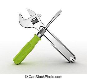 3d, wrench, 同时,, screwdriver., 隔离, 在上, white.