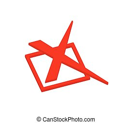 Abstract 3d Red Wrong Cross Sign Vector Illustration