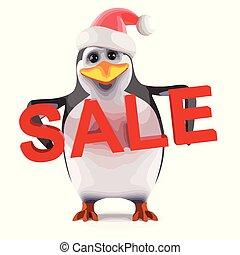 3d Xmas penguin sale