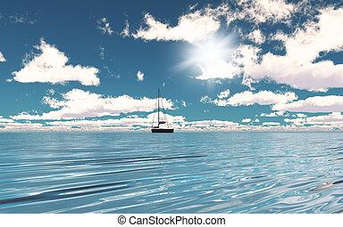 3d, yacht, océan