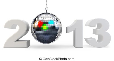 3d year 2013 and disco ball  on white background