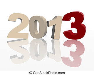 3d year 2013 in red and grey - 3d color figures like ciphers...