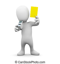 3d Yellow card man - 3d render of a little person blowing a...