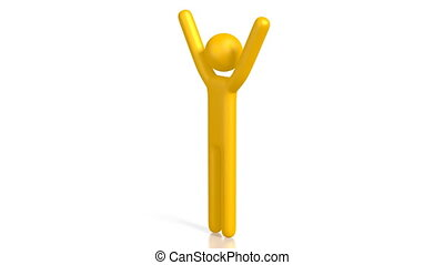 3D yellow cartoon character on white background