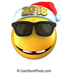 3d yellow emoticon smile with 2018 Christmas hat - 3d...
