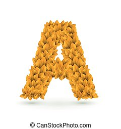 3d yellow leaves alphabet A