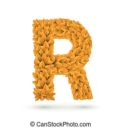 3d yellow leaves alphabet R
