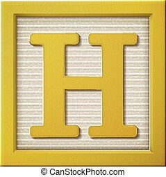 3d yellow letter block H