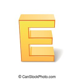 3d yellow letter E