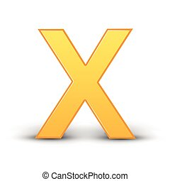 3D image yellow letter X isolated on white background