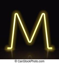 3d yellow neon light letter M