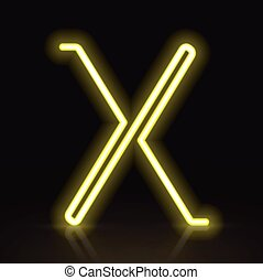 3d yellow neon light letter X