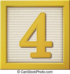 3d yellow number block 4 - close up look at 3d yellow number...