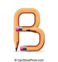 3d yellow pencil alphabet B