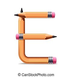 3d yellow pencil alphabet E