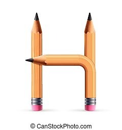 3d yellow pencil alphabet H