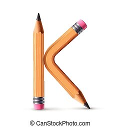 3d yellow pencil alphabet K