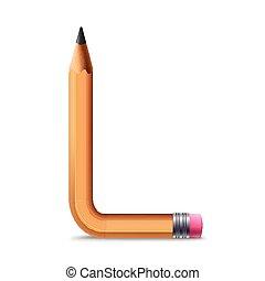3d yellow pencil alphabet L