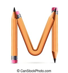 3d yellow pencil alphabet M