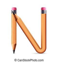 3d yellow pencil alphabet N