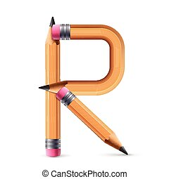 3d yellow pencil alphabet R