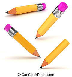 3d yellow pencil on white background