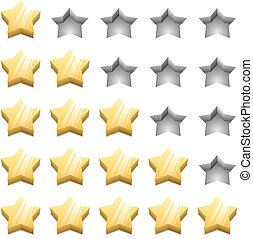 3D yellow ranking stars vector template isolated on white background.