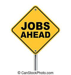 3d yellow roadsign of jobs ahead