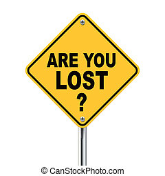 3d yellow roadsign of question are you lost isolated on...