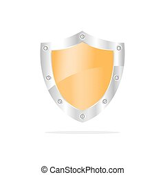 3D Yellow security shield on a white background