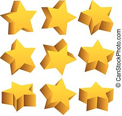 3d yellow stars with shadow