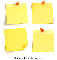 3d yellow stickynote on white background