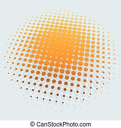 3D yellow sun halftone vector background.