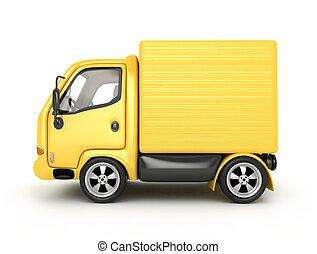 3D Yellow Van isolated