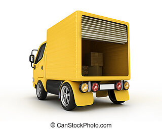 3D Yellow Van isolated