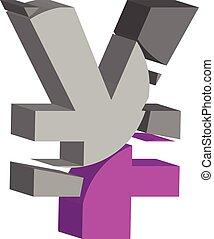 3d YEN symbol - Colorful three-dimensional YEN Symbol
