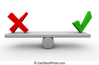 3d render of yes and no symbols on seesaw.