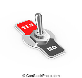 3d yes no toggle switch button