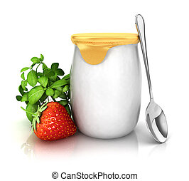 3d yoghurt with a strawberry, isolated white background, 3d image