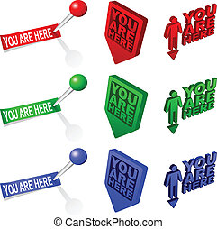 "3D You are Here map markers - Three different 3D ""YOU ARE..."