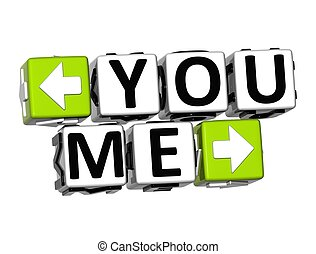 3D You Me Button Click Here Block Text