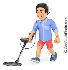 3D Young man in shorts with a metal detector