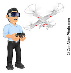 3D Young man piloting a drone with virtual reality glasses